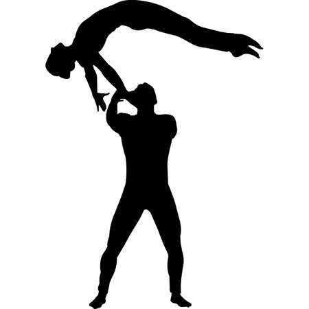 Circus Performers Acrobats Silhouette Vector