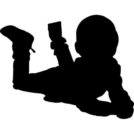 Kid Lying Down Silhouette Vector
