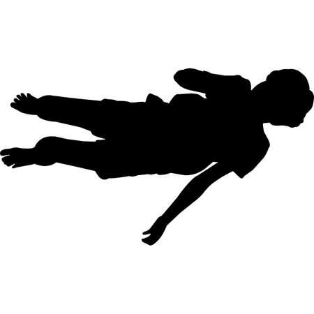 Kid Lying Down Silhouette Vector Ilustración de vector