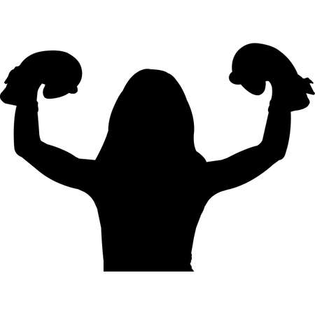 Kid Flexing Muscle Silhouette Vector