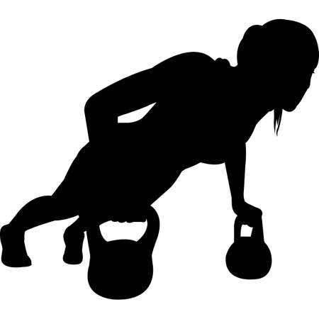 Workout with Kettle Balls Silhouette Vector Ilustrace