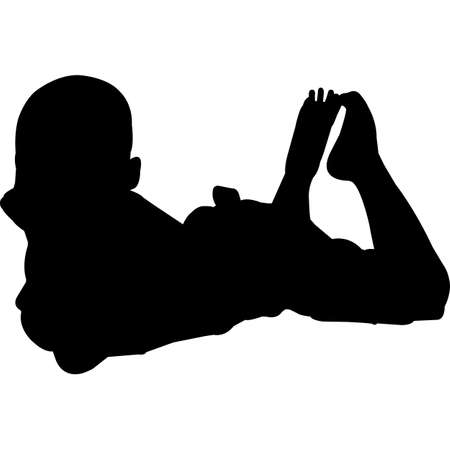 Kid Lying Down Silhouette Vector