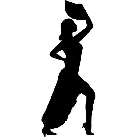 Flamenco Silhouette Vector Иллюстрация