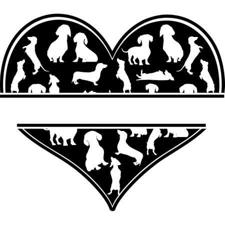 Love Dachshund-heart_2.zip, Heart Dachshund-heart_2.zip, Split frame Vector