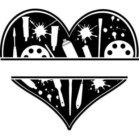 Love Artist-heart_2.zip, Heart Artist-heart_2.zip, Split frame Vector