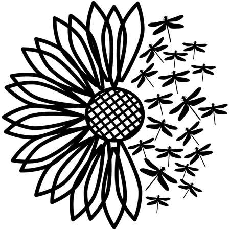Sunflower Dragonflies Silhouette Vector