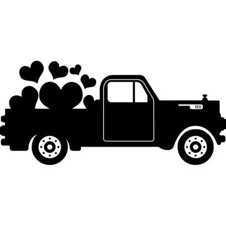 Pickup truck Heart Silhouette Vector