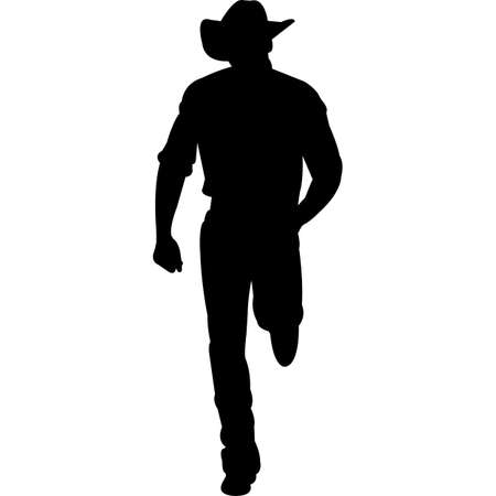 Cowboy Standing Silhouette Vector