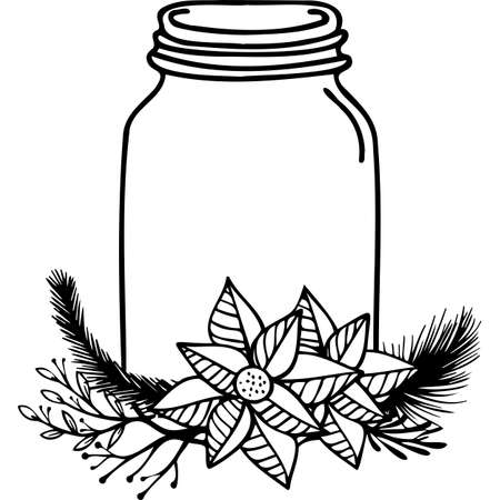 Holiday Christmas Mason Jar Silhouette Vector