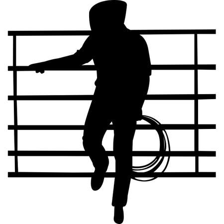 Cowboy Leaning on A Fence Silhouette Vector