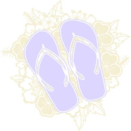 Flip flop Floral Mandala Vector