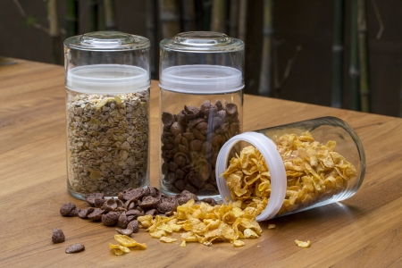 sugarcoated: Cereals, bowl of sugar-coated corn flakes Stock Photo