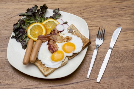 Breakfast with bacon, fried egg photo