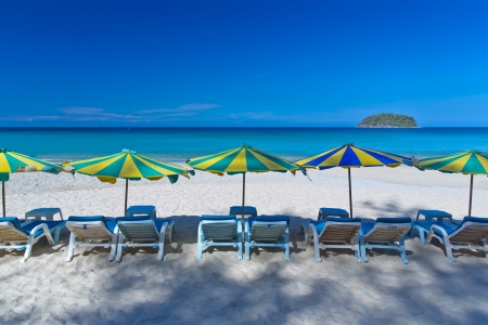 A beautiful Kata beach with colotful umbrella , Phuket, Thailand photo