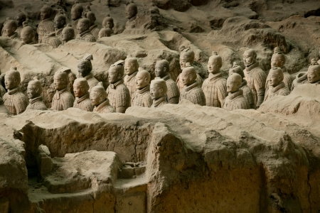 huang: The Terracotta Army or the Terra Cotta Warriors and Horses buried in the pits next to the Qin Shi Huang