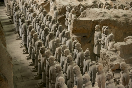 qin: The Terracotta Army or the Terra Cotta Warriors and Horses buried in the pits next to the Qin Shi Huang