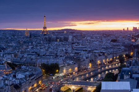 invalides: Aerial view of Paris at sunset with Eiffel Tower Editorial