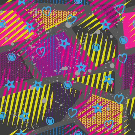 neon wallpaper: Abstract seamless chaotic pattern with urban geometric elements. Grunge neon texture background. Wallpaper for boys and girls.