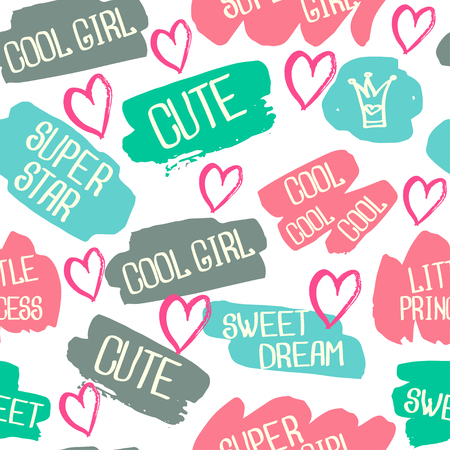 for boys: Abstract seamless chaotic pattern with text super star, little princess, cute. Grunge neon texture background. Wallpaper for boys and girls. Illustration
