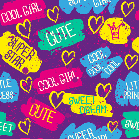 super star: Abstract seamless chaotic pattern with text super star, little princess, cute. Grunge neon texture background. Wallpaper for boys and girls. Illustration