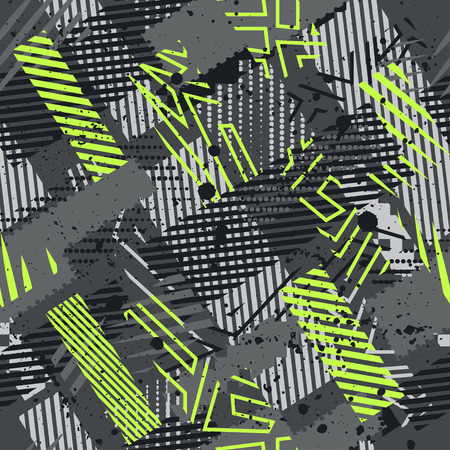 abstract wallpaper: Abstract seamless chaotic pattern with urban geometric elements. Grunge neon texture background. Wallpaper for boys and girls.