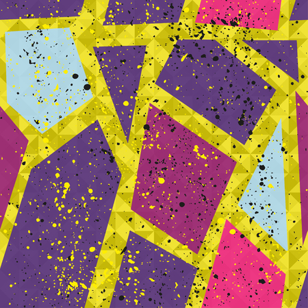 for boys: Abstract seamless chaotic pattern with urban geometric elements. Grunge neon texture background. Wallpaper for boys and girls.