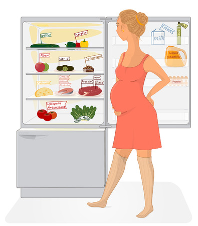 Pregnant woman looks into the fridge, full of healthy products  Illustration