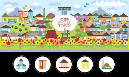 Small town vector illustration