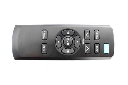 car audio: Car audio remote control on a white background Stock Photo