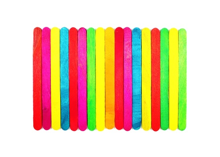 colorful wood ice-cream stick on a white background Stock Photo
