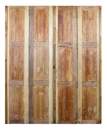 wooden door with ancient texture on white background photo