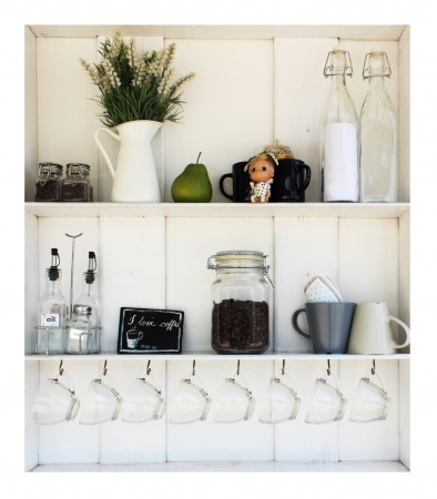 kitchen studio: Coffee white shelves on a white background