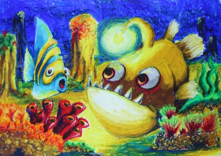 Fishes in the sea drawing photo