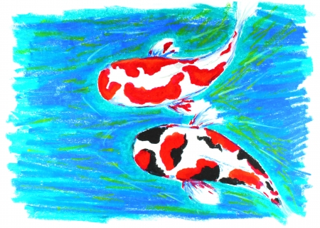 hokusai: koi fish drawing Stock Photo