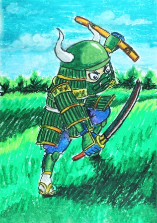 green samurai drawing photo
