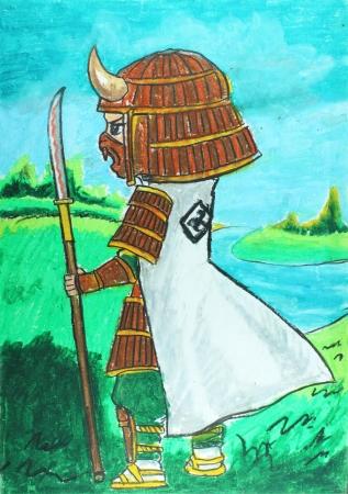 white samurai drawing , ninja Stock Photo - 23783206