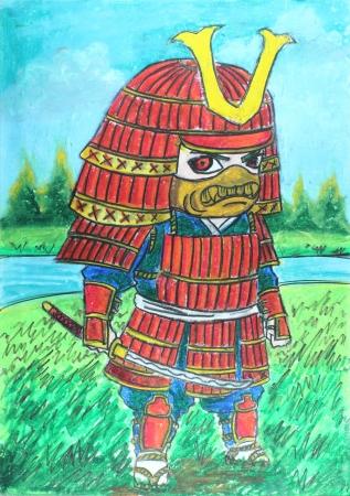 red samurai drawing Stock Photo - 23783207