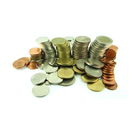 Coins Steps Thai Baht on white background Stock Photo - 23783944