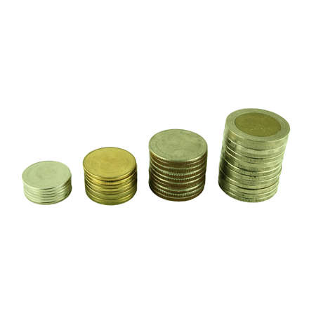 Coins Steps Thai Baht on white background photo