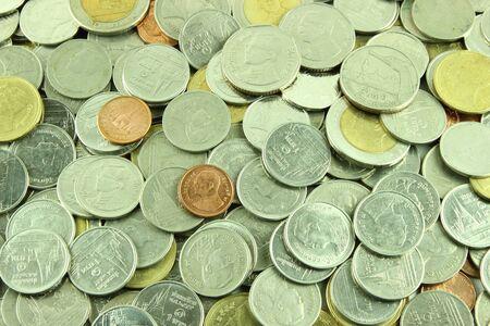 Coins Thai Baht on white background Stock Photo - 23784279