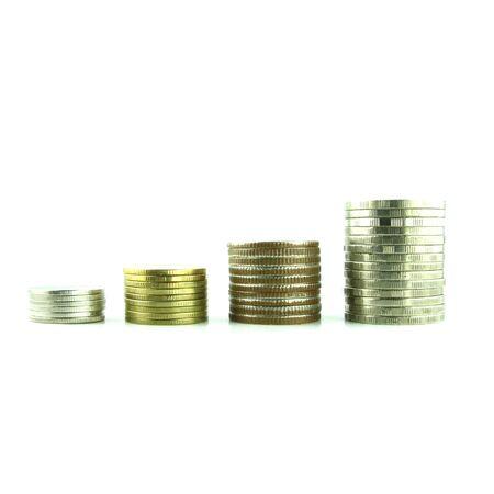 Coins Steps Thai Baht on white background Stock Photo - 23784307
