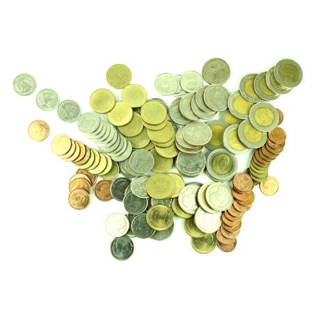 Coins Thai Baht on white background Stock Photo - 23784309