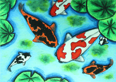 fish type: koi fish swiming in water painting  Stock Photo