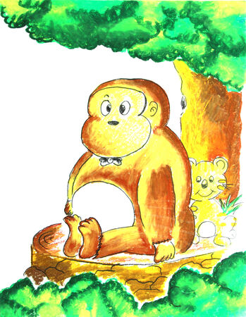 Monkey sitting under the tree painting photo