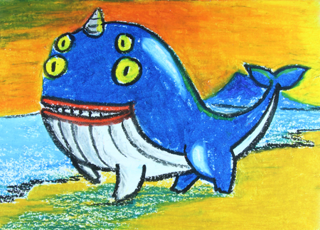 gush: 4 eyes  whale with horn painting