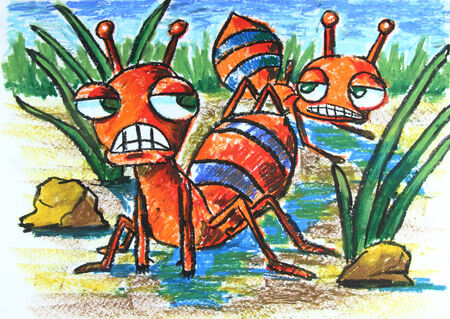 angry ants with plant   painting  photo