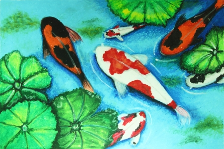 fish type: koi fish swiming in water painting