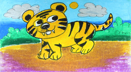 smile tiger walking in forest painting background