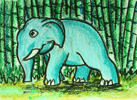 elephant walking in forest  painting  photo