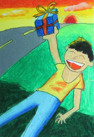 child getting a gift and smiling painting  photo